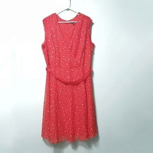Rossoli Red Flowy Dress with Stars Size 18